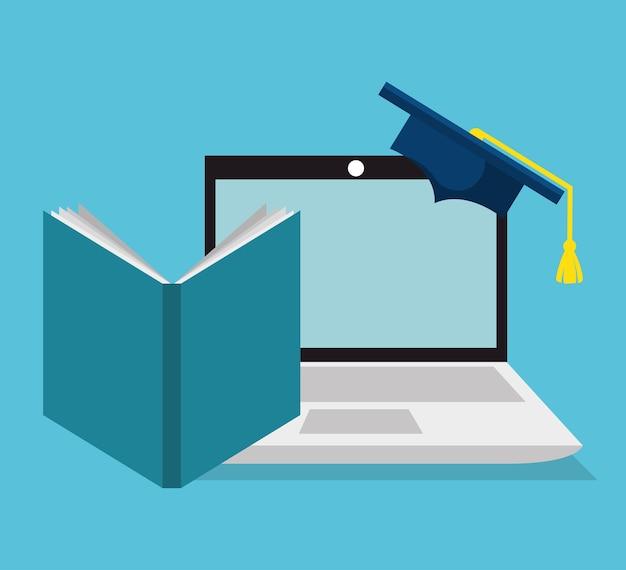 Ícones lisos on-line de educação