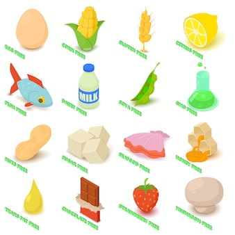 Ícones livres de alergia definir comida. ilustração isométrica de 16 ícones de vetor livre de alergia para web