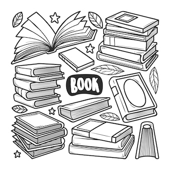 Ícones livro mão desenhada doodle colorir