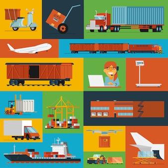 Ícones logísticos definidos planos