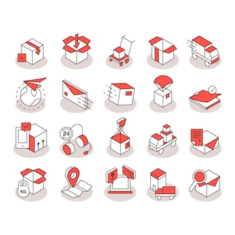 Ícones logíticos isométricos