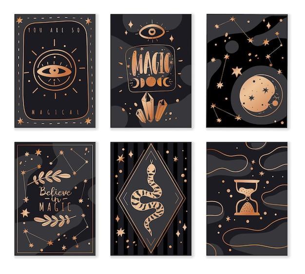 Ícones mágicos rabiscam cartas douradas