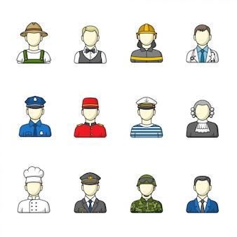 Ícones masculinos. conjunto de diferentes profissões masculinas. ilustração.