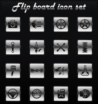 Ícones mecânicos de flip da loja de carros para design de interface de usuário