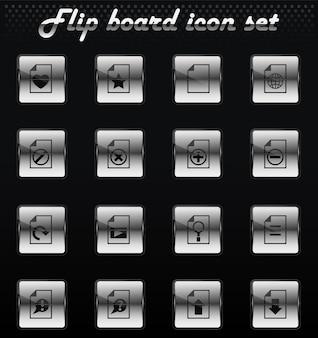 Ícones mecânicos de flip de vetor de documento para design de interface de usuário