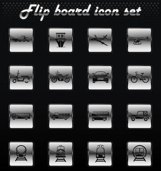 Ícones mecânicos de vetor de transporte para design de interface de usuário
