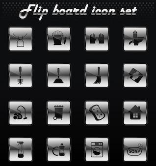 Ícones mecânicos do vetor da empresa de limpeza para design de interface do usuário