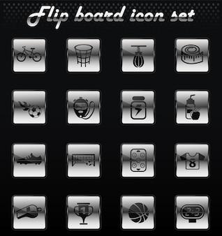 Ícones mecânicos do vetor esporte flip para design de interface do usuário