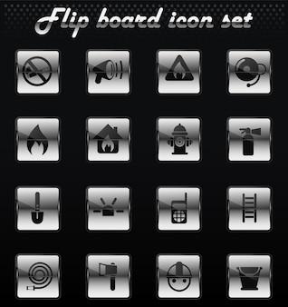 Ícones mecânicos virados de vetor de brigada de incêndio para design de interface de usuário