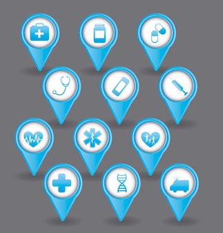 Ícones médicos azuis sobre ilustração vetorial de fundo cinza