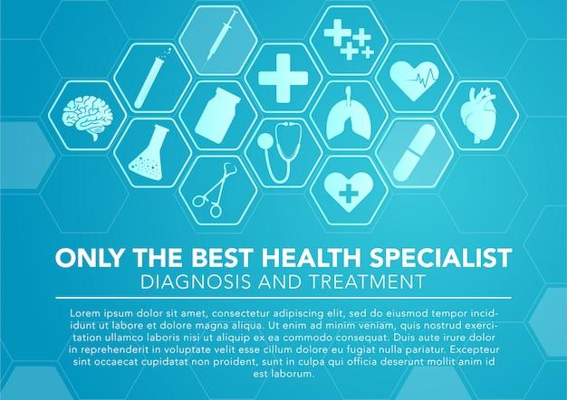 Ícones médicos com fundo azul hexagonal