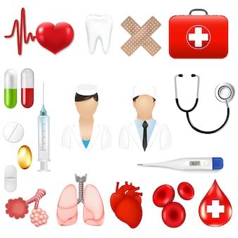 Ícones médicos e ferramentas de equipamentos com malha gradiente