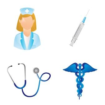 Ícones médicos isolados sobre o vetor de fundo branco