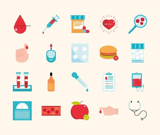 Ícones médicos para diabetes
