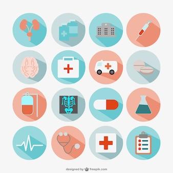 Ícones médicos redondas plana definida