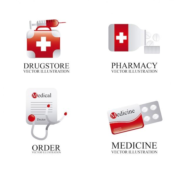 Ícones médicos sobre ilustração vetorial de fundo branco