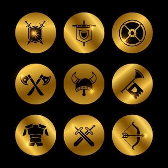 Ícones medievais de guerreiro vintage ouro com luzes
