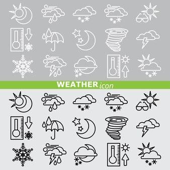 Ícones meteorológicos. conjunto de linhas.