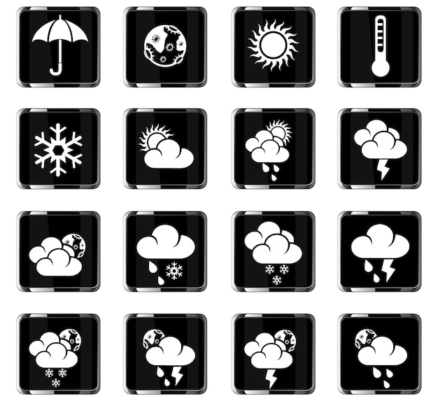 Ícones meteorológicos da web para design de interface de usuário