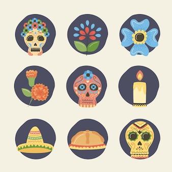 Ícones mexicanos do dia dos mortos