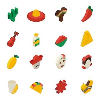 Ícones mexicanos isométricos