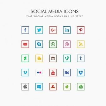Ícones mínimas de mídia social definidas na forma quadrada