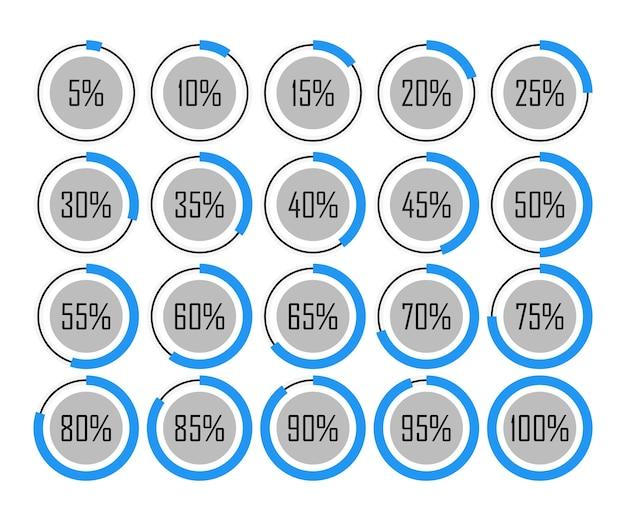 Ícones modelo gráfico de pizza círculo porcentagem azul gráfico 5 10 15 20 25 30 35 40 45 50 55 60 65 70 75 80 85 90 95 100 por cento definir ilustração redonda vetor.