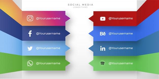 Ícones modernos de mídia social com terço inferior