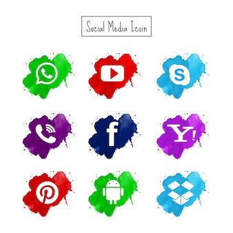 Ícones modernos de mídia social de aquarela configurados