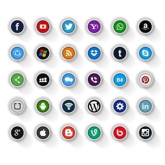 Ícones modernos de mídia social fundo