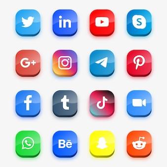 Ícones modernos de mídia social ou logotipos de plataforma de rede