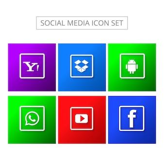 Ícones modernos de mídia social