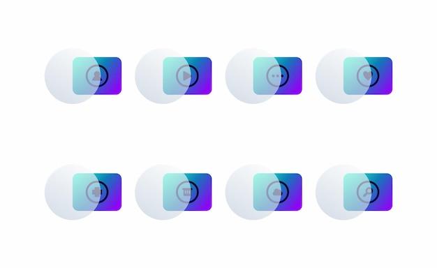 Ícones modernos definem gradiente de cor moderna