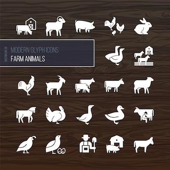 Ícones modernos glifos de animais de fazenda