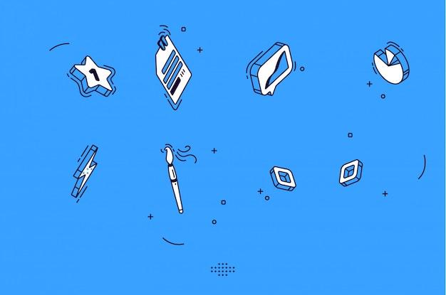 Ícones móveis isométricos para negócios, marketing
