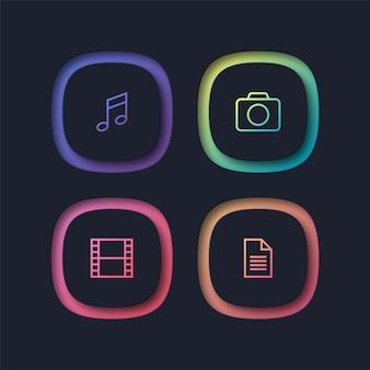 Ícones multimídia coloridos