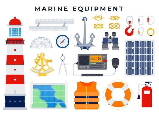 Ícones náuticos e marinhos em design plano