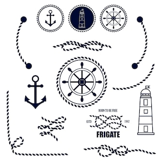 Ícones náuticos e marinhos