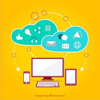 Ícones nuvem internet