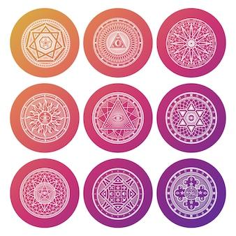 Ícones oculto, místico, espiritual, esotérico brilhante branco