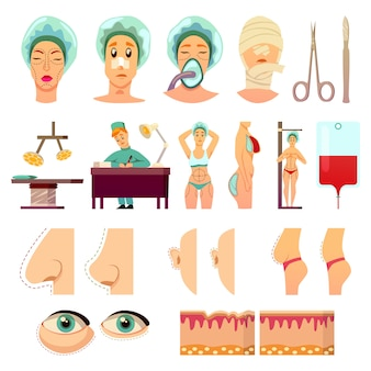 Ícones ortogonais de cirurgia plástica