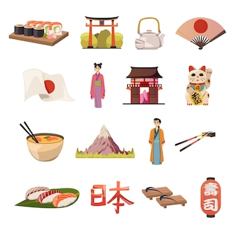 Ícones ortogonais de comida de cultura do japão