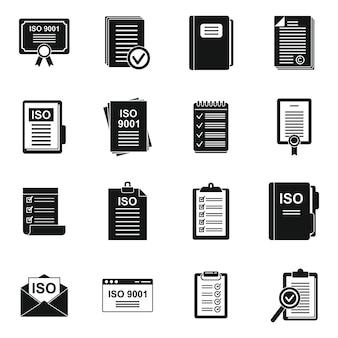 Ícones padrão de iso definem vetor simples. qualidade certificada. documento certificado