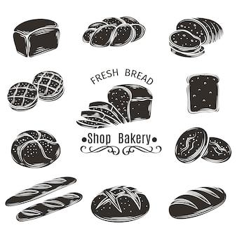 Ícones pão e padaria.