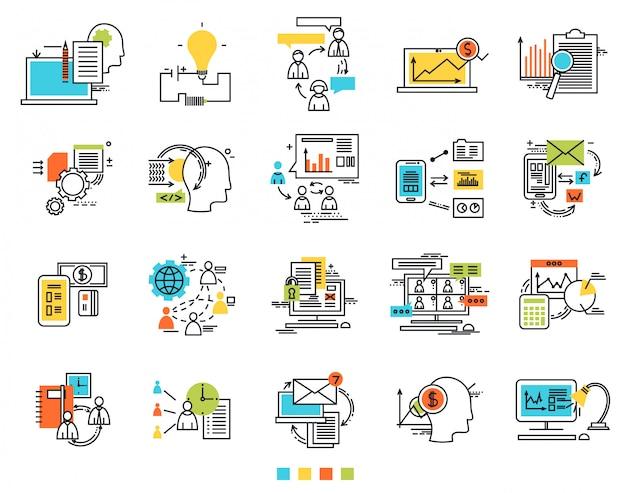 Ícones para a ideia de engenharia de e-business
