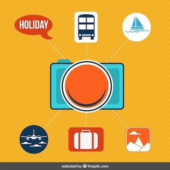 Ícones para as férias infograpihic