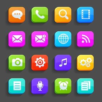 Ícones para celular isolado na cinza