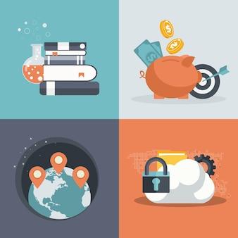 Ícones para finanças, gps, educação e segurança na nuvem