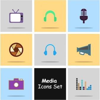 Ícones para ilustração vetorial de rede social no plano