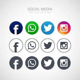Ícones para redes sociais vector design ilustração